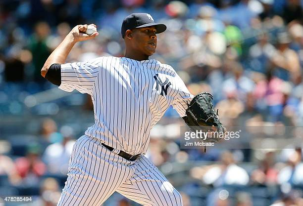 Ivan Nova of the New York Yankees pitches in the first inning against the Philadelphia Phillies at Yankee Stadium on June 24 2015 in the Bronx...