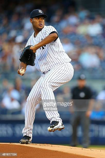 Ivan Nova of the New York Yankees pitches in the first inning against the Baltimore Orioles at Yankee Stadium on July 22 2015 in the Bronx borough of...