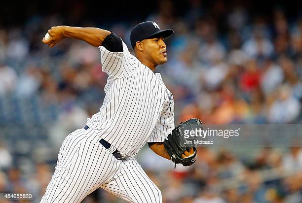Ivan Nova of the New York Yankees pitches in the first inning against the Cleveland Indians at Yankee Stadium on August 20 2015 in the Bronx borough...