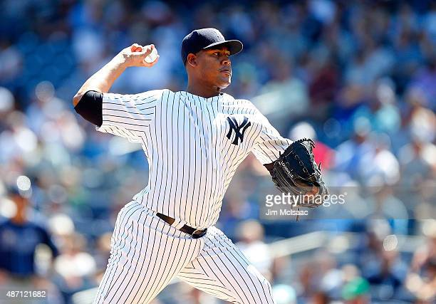 Ivan Nova of the New York Yankees pitches in the first inning against the Tampa Bay Rays at Yankee Stadium on September 6 2015 in the Bronx borough...