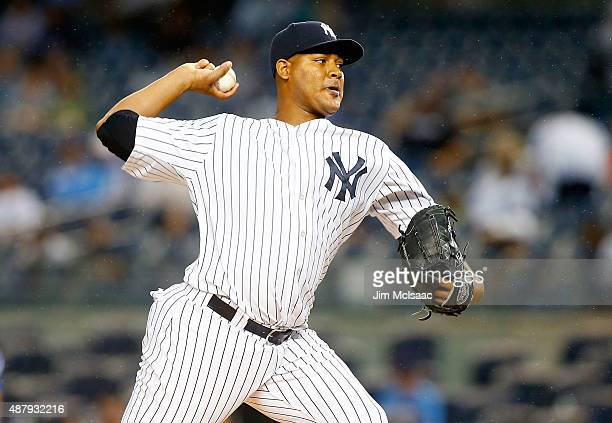 Ivan Nova of the New York Yankees pitches in the first inning against the Toronto Blue Jays at Yankee Stadium on September 12 2015 in the Bronx...
