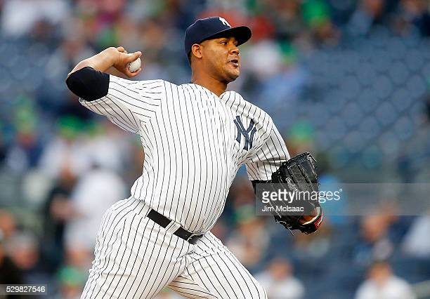 Ivan Nova of the New York Yankees pitches in the first inning against the Kansas City Royals at Yankee Stadium on May 9 2016 in the Bronx borough of...