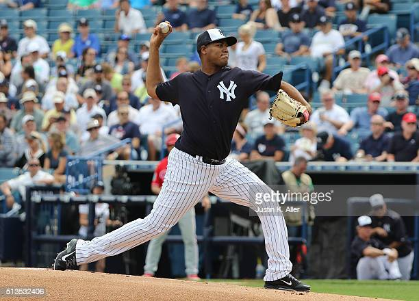 Ivan Nova of the New York Yankees pitches in the first inning uring the game against the Philadelphia Phillies at George M Steinbrenner Field on...