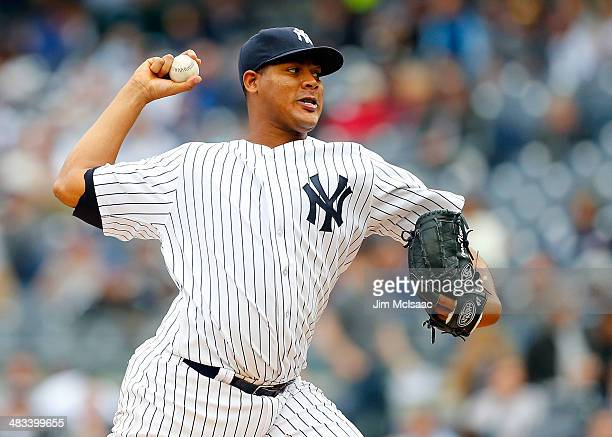 Ivan Nova of the New York Yankees pitches in the third inning against the Baltimore Orioles at Yankee Stadium on April 8 2014 in the Bronx borough of...