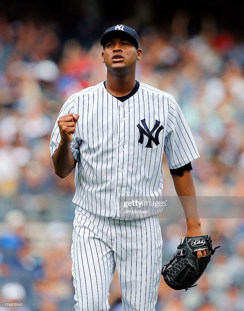 <a gi-track='captionPersonalityLinkClicked' href=/galleries/search?phrase=Ivan+Nova&family=editorial&specificpeople=5743486 ng-click='$event.stopPropagation()'>Ivan Nova</a> #47 of the New York Yankees reacts after the fourth inning against the Tampa Bay Rays at Yankee Stadium on July 27, 2013 in the Bronx borough of New York City. The Rays defeated the Yankees 1-0.