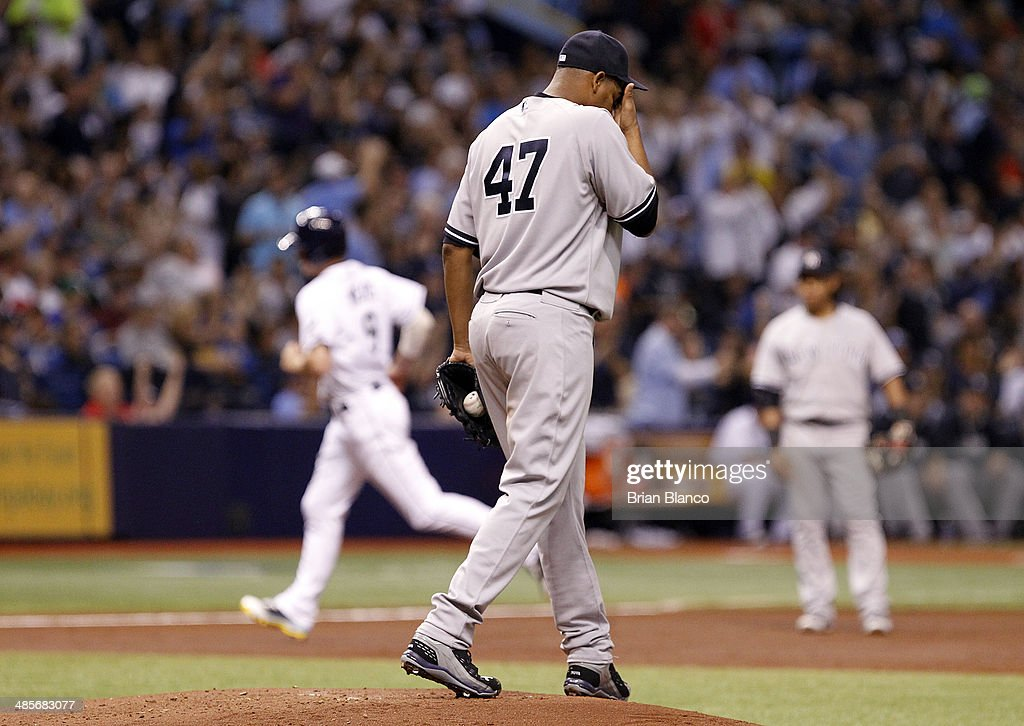 Ivan Nova #47 of the New York Yankees reacts on the mound after allowing a solo home run to Wil Myers #9 of the Tampa Bay Rays during the second inning of a game on April 19, 2014 at Tropicana Field in St. Petersburg, Florida.