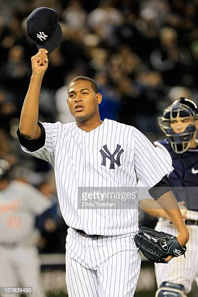 Ivan Nova of the New York Yankees salutes the crowd after being pulled from the game in the ninth inning of Game One of the American League Division...