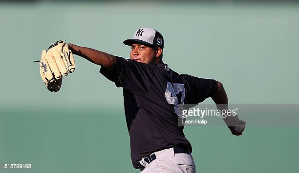 Ivan Nova of the New York Yankees warms up prior to the start of the Spring Training Game against the Boston Red Sox on March 15 2016 at Jet Blue...