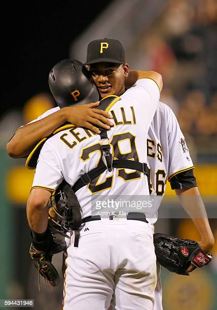 Ivan Nova of the Pittsburgh Pirates celebrates with Francisco Cervelli after defeating the Houston Astros 71 during interleague play at PNC Park on...