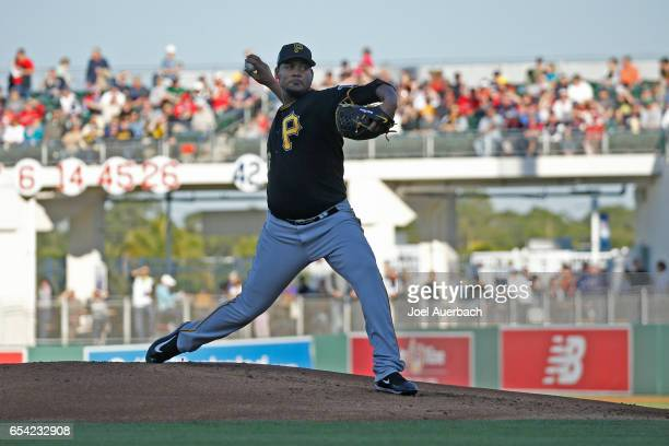 Ivan Nova of the Pittsburgh Pirates pitches against the Boston Red Sox in the first inning during a spring training game at JetBlue Park on March 16...