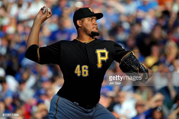 Ivan Nova of the Pittsburgh Pirates pitches against the Chicago Cubs during the first inning at Wrigley Field on July 8 2017 in Chicago Illinois