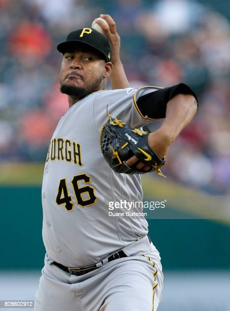 Ivan Nova of the Pittsburgh Pirates pitches against the Detroit Tigers during the second inning of an interleague game at Comerica Park on August 9...