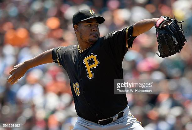 Ivan Nova of the Pittsburgh Pirates pitches against the San Francisco Giants in the bottom of the first inning at ATT Park on August 17 2016 in San...