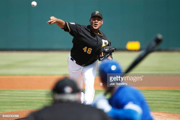 Ivan Nova of the Pittsburgh Pirates pitches in the first inning of a Grapefruit League spring training game against the Toronto Blue Jays at...