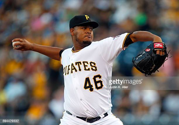 Ivan Nova of the Pittsburgh Pirates pitches in the first inning during interleague play against the Houston Astros at PNC Park on August 23 2016 in...