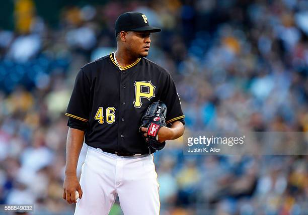 Ivan Nova of the Pittsburgh Pirates pitches in the first inning during the game against the Cincinnati Reds at PNC Park on August 6 2016 in...