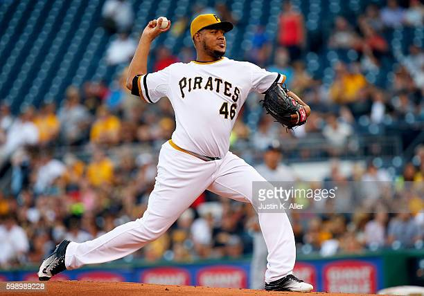 Ivan Nova of the Pittsburgh Pirates pitches in the first inning during the game against the Milwaukee Brewers at PNC Park on September 3 2016 in...