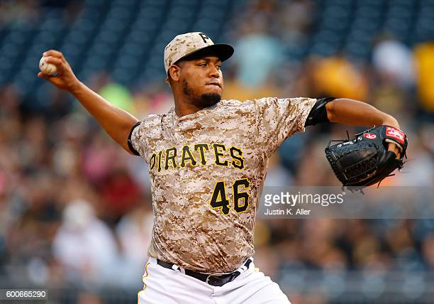 Ivan Nova of the Pittsburgh Pirates pitches in the first inning during the game against the Cincinnati Reds at PNC Park on September 8 2016 in...