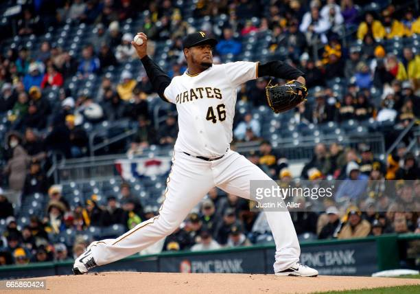 Ivan Nova of the Pittsburgh Pirates pitches in the first inning against the Atlanta Braves on Opening Day at PNC Park on April 7 2017 in Pittsburgh...