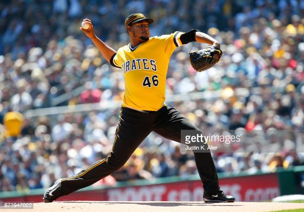 Ivan Nova of the Pittsburgh Pirates pitches in the first inning against the New York Yankees at PNC Park on April 23 2017 in Pittsburgh Pennsylvania