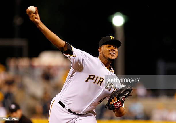 Ivan Nova of the Pittsburgh Pirates pitches in the ninth inning during interleague play against the Houston Astros at PNC Park on August 23 2016 in...