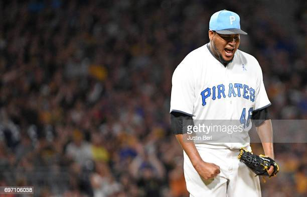 Ivan Nova of the Pittsburgh Pirates reacts after striking out Jon Jay of the Chicago Cubs in the seventh inning during the game at PNC Park on June...
