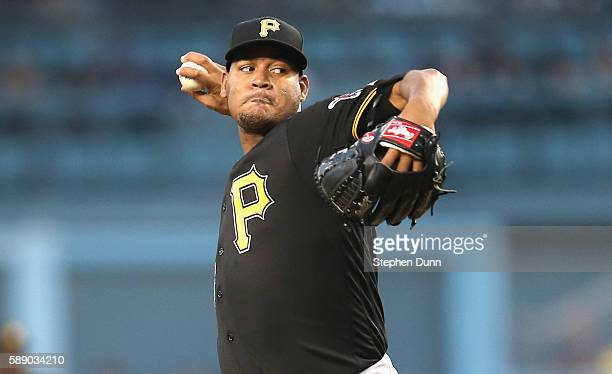 Ivan Nova of the Pittsburgh Pirates throws a pitch against the Los Angeles Dodgers at Dodger Stadium on August 12 2016 in Los Angeles California