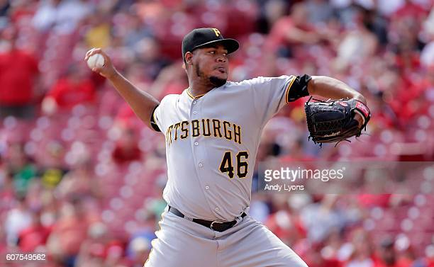 Ivan Nova of the Pittsburgh Pirates throws a pitch against the Cincinnati Reds at Great American Ball Park on September 18 2016 in Cincinnati Ohio