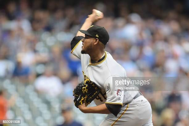Ivan Nova of the Pittsburgh Pirates throws a pitch against the Milwaukee Brewers during the first inning at Miller Park on August 15 2017 in...