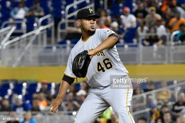 Ivan Nova of the Pittsburgh Pirates throws a pitch during the first inning against the Miami Marlins at Marlins Park on April 29 2017 in Miami Florida