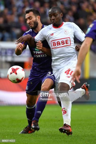 Ivan Obradovic defender of RSC Anderlecht PaulJose Mpoku forward of Standard Liege during the Jupiler Pro League match between RSC Anderlecht and...