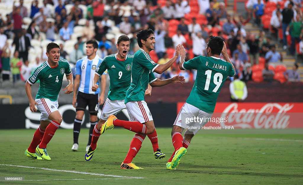 Ivan Ochoa of Mexico celebrates scoring the second goal during the FIFA U-17 World Cup UAE 2013 Semi Final match between Argentina and Mexico at the Mohamed Bin Zayed Stadium on November 5, 2013 in Abu Dhabi, United Arab Emirates.