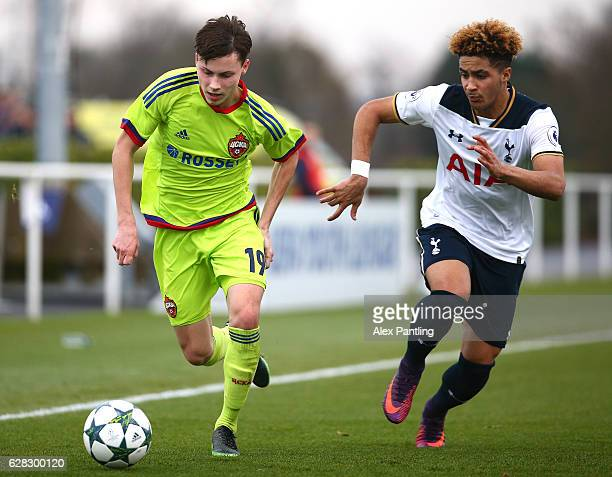 Ivan Oleynikov of CSKA Moskva is chased down by Keanan Bennetts of Tottenham Hotspur during the UEFA Youth Champions League match between Tottenham...