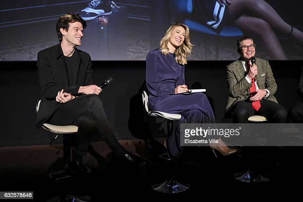 Ivan Olita Mia Ceran and Bob KunzeConcewitz attend the 'Campari Red Diaries' press conference on January 24 2017 in Rome Italy