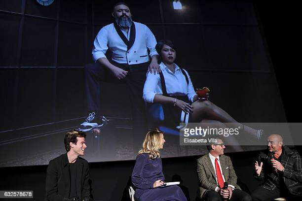 Ivan Olita Mia Ceran Bob KunzeConcewitz and Ale Burset attend the 'Campari Red Diaries' press conference on January 24 2017 in Rome Italy