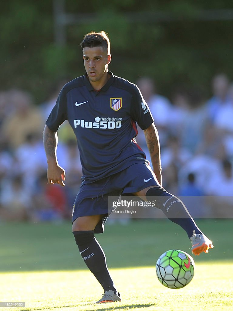 <a gi-track='captionPersonalityLinkClicked' href=/galleries/search?phrase=Ivan+Perez&family=editorial&specificpeople=2304121 ng-click='$event.stopPropagation()'>Ivan Perez</a> of Club Atletico de Madrid in action during the Jesus Gil y Gil Memorial pre-season friendly match between Numancia and Club Atletico de Madrid at the Campo Municipal de Deportes on July 25, 2015 in Burgo de Osma, Spain.