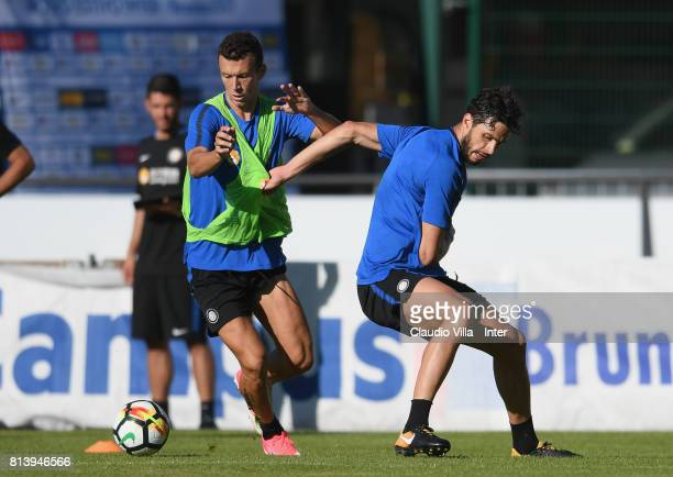 Ivan Perisic and Andrea Ranocchia of FC Internazionale compete for the ball during the FC Internazionale training session on July 13 2017 in...