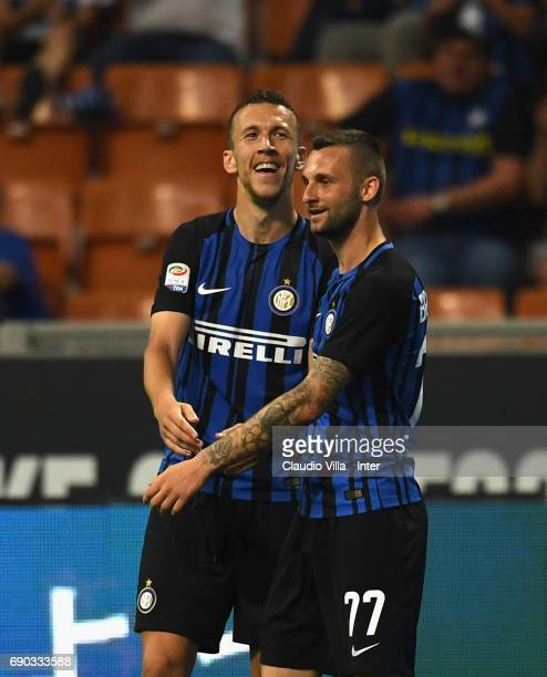 Ivan Perisic and Marcelo Brozovic of FC Internazionale celebrate during the Serie A match between FC Internazionale and Udinese Calcio at Stadio...