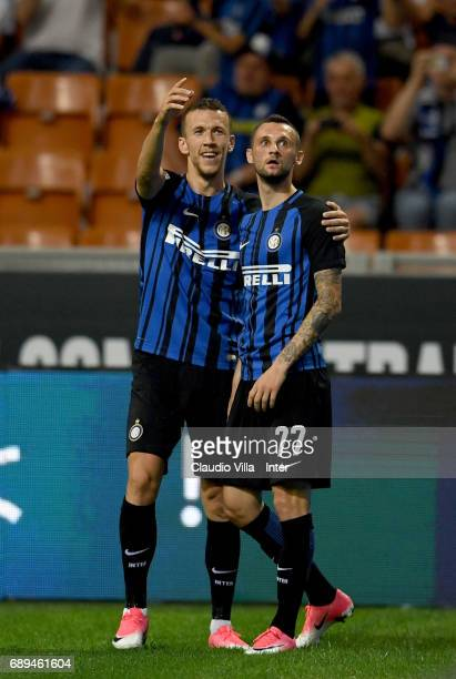 Ivan Perisic and Marcelo Brozovic of FC Internazionale celebrates after scoring the goal during the Serie A match between FC Internazionale and...
