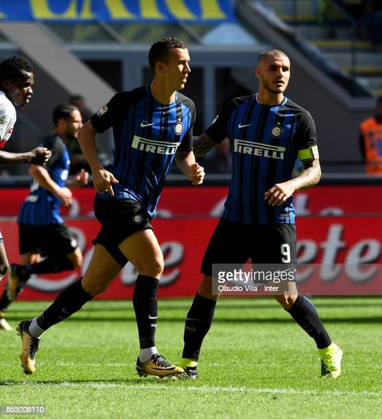 Ivan Perisic and Mauro Icardi of FC Internazionale look on during the Serie A match between FC Internazionale and Genoa CFC at Stadio Giuseppe Meazza...
