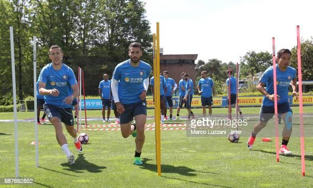 Ivan Perisic Antonio Candreva and Yuto Nagatomo of FC Internazionale train during the FC Internazionale training session at the club's training...
