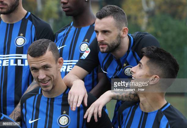 Ivan Perisic Marcelo Brozovic and Joao Cancelo of FC Internazionale back stage during the FC Internazionale Official Photoshoot at the club's...