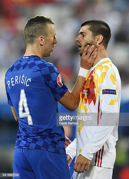 Ivan Perisic of Croatia and Alvaro Morata of Spain face off during the UEFA EURO 2016 Group D match between Croatia and Spain at Stade Matmut...