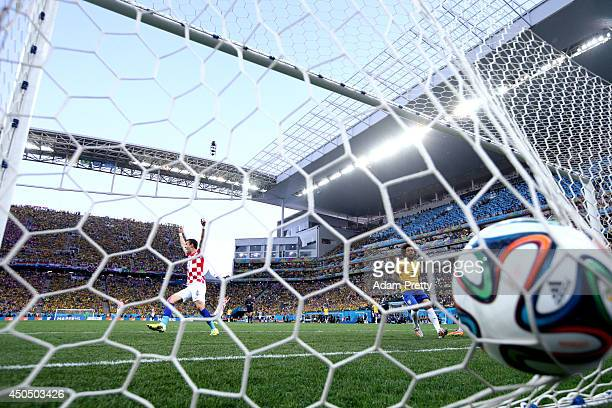 Ivan Perisic of Croatia celebrates a first half goal during the 2014 FIFA World Cup Brazil Group A match between Brazil and Croatia at Arena de Sao...