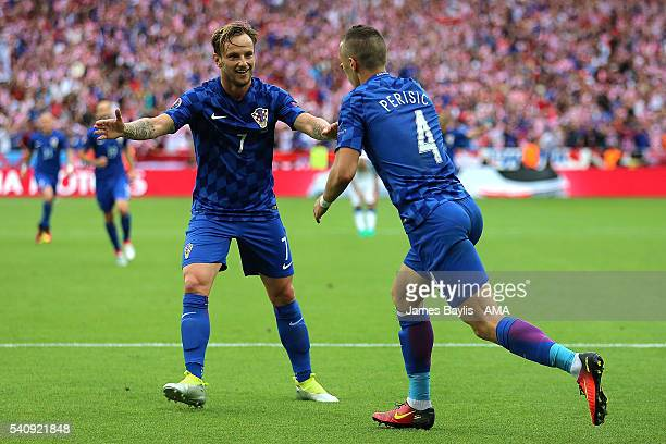 Ivan Perisic of Croatia celebrates scoring a goal to make the score 01 with Ivan Rakitic during the UEFA EURO 2016 Group D match between Czech...