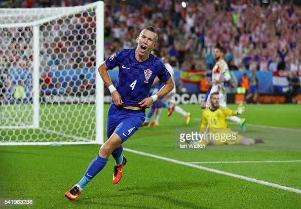 Ivan Perisic of Croatia celebrates scoring his team's second goal during the UEFA EURO 2016 Group D match between Croatia and Spain at Stade Matmut...