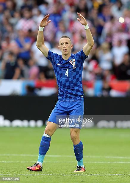 Ivan Perisic of Croatia celebrates scoring the opening goal during the UEFA Euro 2016 Group D match between the Czech Republic and Croatia at Stade...