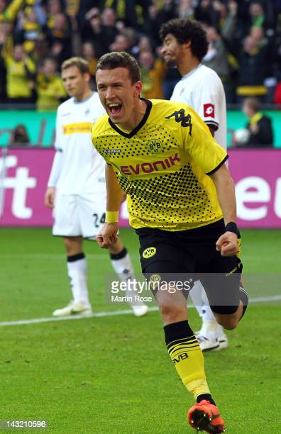 Ivan Perisic of Dortmund celebrates after he heads his team's leading goal during the Bundesliga match between Borussia Dortmund and Borussia...
