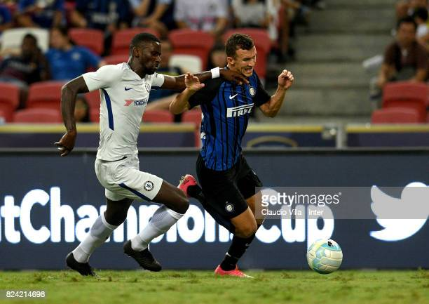 Ivan Perisic of FC Internazionale and Antonio Rüdiger of Chelsea FC compete for the ball during the International Champions Cup match between Chelsea...