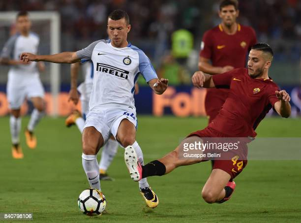 Ivan Perisic of FC Internazionale and Kostas Manolas of AS Roma in action during the Serie A match between AS Roma and FC Internazionale at Stadio...